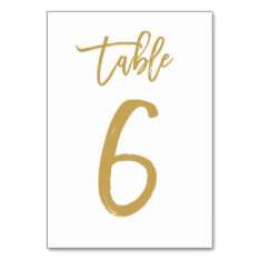 Chic Hand Lettered Table Number Gold | Table 6 at Zazzle