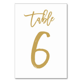 Chic Hand Lettered Table Number Gold | Table 6 Card