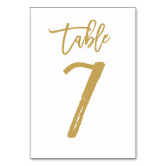 Chic Hand Lettered Table Number Gold | Table 7 at Zazzle