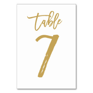 Chic Hand Lettered Table Number Gold | Table 7 Card