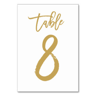 Chic Hand Lettered Table Number Gold | Table 8 Card