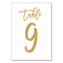 Chic Hand Lettered Table Number Gold | Table 9
