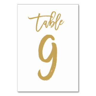 Chic Hand Lettered Table Number Gold | Table 9 Card