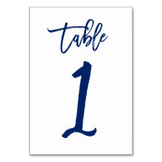 Chic Hand Lettered Table Number Navy  | Table 1