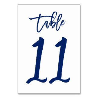 Chic Hand Lettered Table Number Navy   Table 11