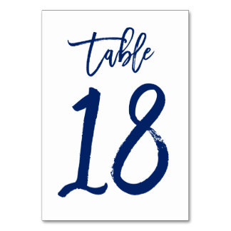 Chic Hand Lettered Table Number Navy | Table 18