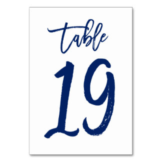 Chic Hand Lettered Table Number Navy | Table 19
