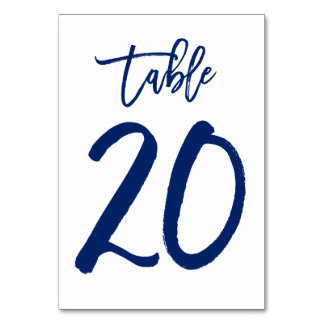 Chic Hand Lettered Table Number Navy | Table 20