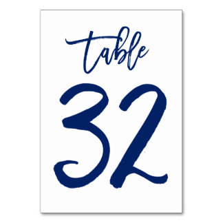 Chic Hand Lettered Table Number Navy | Table 32