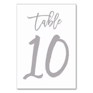 Chic Hand Lettered Table Number Silver | Table 10