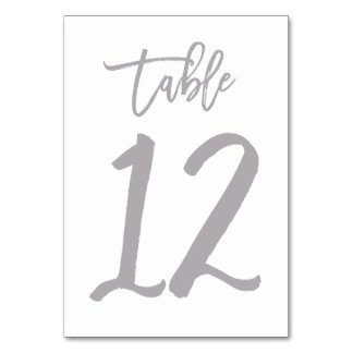 Chic Hand Lettered Table Number Silver | Table 12
