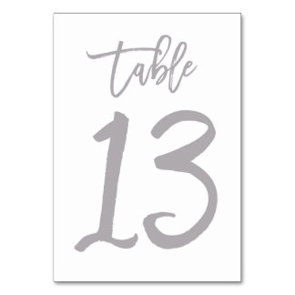Chic Hand Lettered Table Number Silver | Table 13