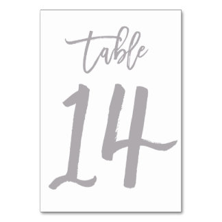 Chic Hand Lettered Table Number Silver | Table 14