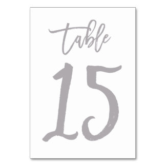 Chic Hand Lettered Table Number Silver | Table 15