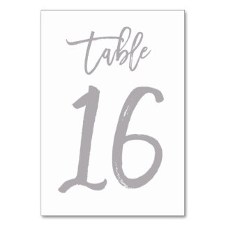 Chic Hand Lettered Table Number Silver | Table 16