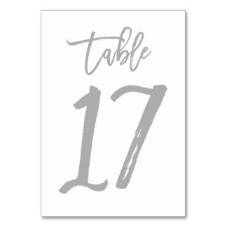 Chic Hand Lettered Table Number Silver | Table 17