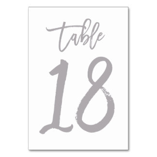 Chic Hand Lettered Table Number Silver | Table 18