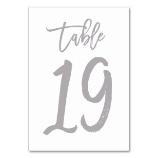 Chic Hand Lettered Table Number Silver | Table 19