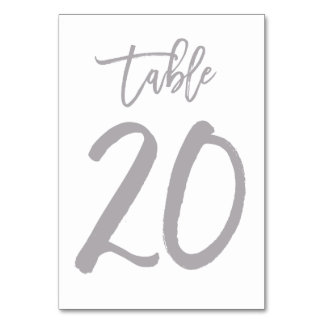 Chic Hand Lettered Table Number Silver | Table 20