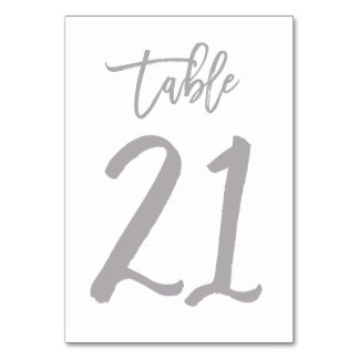 Chic Hand Lettered Table Number Silver | Table 21