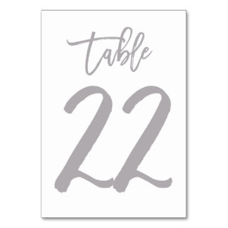 Chic Hand Lettered Table Number Silver | Table 22