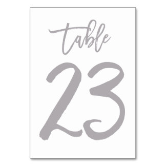Chic Hand Lettered Table Number Silver | Table 23