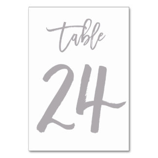 Chic Hand Lettered Table Number Silver | Table 24