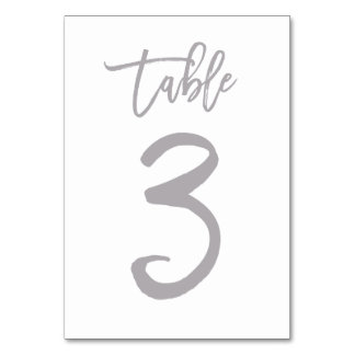 Chic Hand Lettered Table Number Silver | Table 3