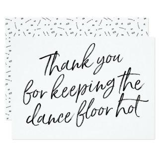 """Chic Hand Lettered """"Thank you"""" DJ, Musician, Band Card"""