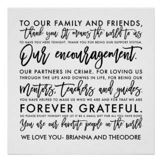 Chic Hand Lettered Thank You Message Poster