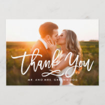 Chic Hand Lettered Thank You Photo