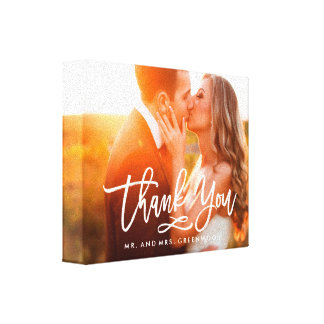 Chic Hand Lettered Thank You Photo Canvas Print