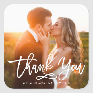 Chic Hand Lettered Thank You Photo Square Sticker