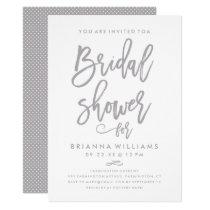 Chic Hand Lettered Wedding Bridal Shower Silver Invitation