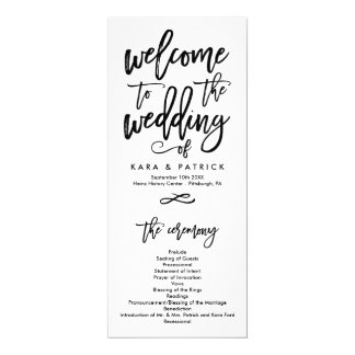 Chic Hand Lettered Wedding Ceremony Program