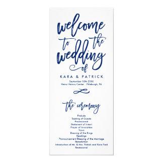 Chic Hand Lettered Wedding Ceremony Program Navy