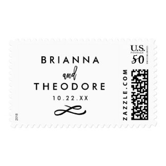 Chic Hand Lettered Wedding Date Postage Stamp