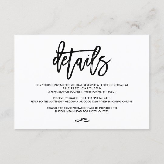 Wedding Invite Enclosures: Chic Hand Lettered Wedding Details Enclosure Card