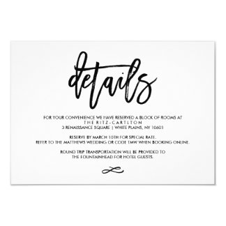 Chic Hand Lettered Wedding Details Enclosure Card