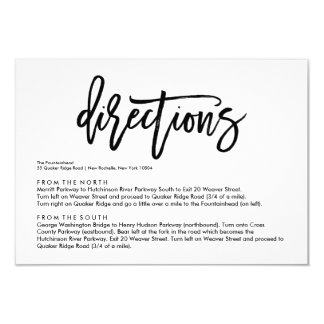 Chic Hand Lettered Wedding Directions Card