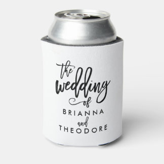 Chic Hand Lettered Wedding Eat Drink Be Married Can Cooler