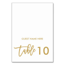 Chic Hand Lettered Wedding Escort Place Card Gold