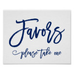 Chic Hand Lettered Wedding Favors Sign Navy Poster