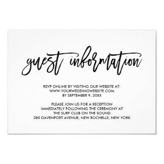 Chic Hand Lettered Wedding Guest Information Card