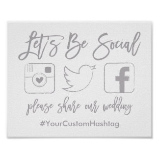 Chic Hand Lettered Wedding Hashtag Gray Sign