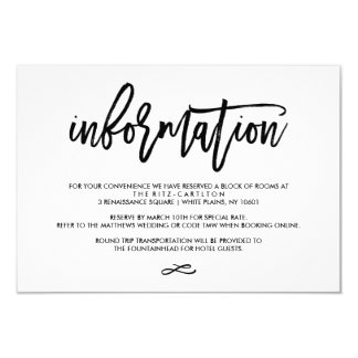 chic hand lettered wedding information card