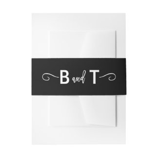 Chic Hand Lettered Wedding Invitation Belly Band