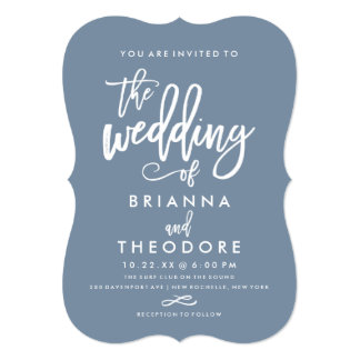 Chic Hand Lettered Wedding Invitation Dusty Blue
