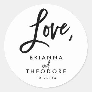 Chic Hand Lettered Wedding Love Favor Label