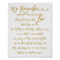 Chic Hand Lettered Wedding Memorial Sign Gold